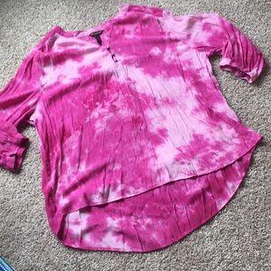 Bit & Bridle Women's 2X Pink Tie-Dye Blouse